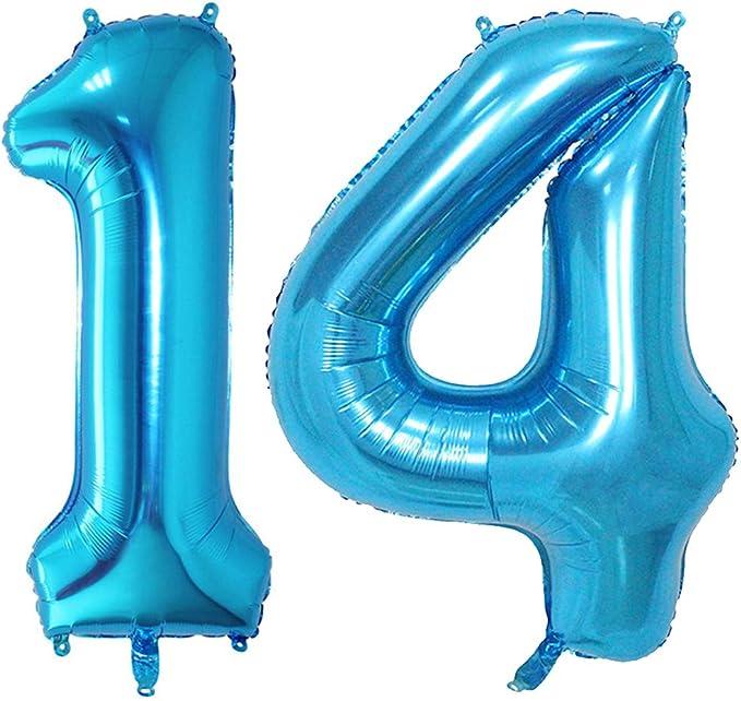Huture 2 Globos Número 14 Figuras Globo Inflable de Helio Globos Grandes de Aluminio Mylar Globos Azul Gigantes Número Globos 40 Pulgadas para Fiesta de Cumpleaños decoración graduación XXL 100cm