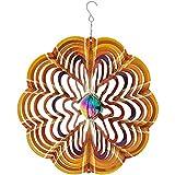 Sunnydaze Garden Wind Spinner, 3D Reflective Whiligig with Outdoor Hanging Hook, Gold Dust