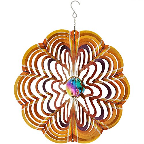 Sunnydaze Garden Wind Spinner, 3D Reflective Whiligig with Outdoor Hanging Hook, Gold (3d Metal Wind Spinners)