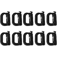 10pcs D-Ring Tactical molle Locking Webbing Buckle Carabiner - Black