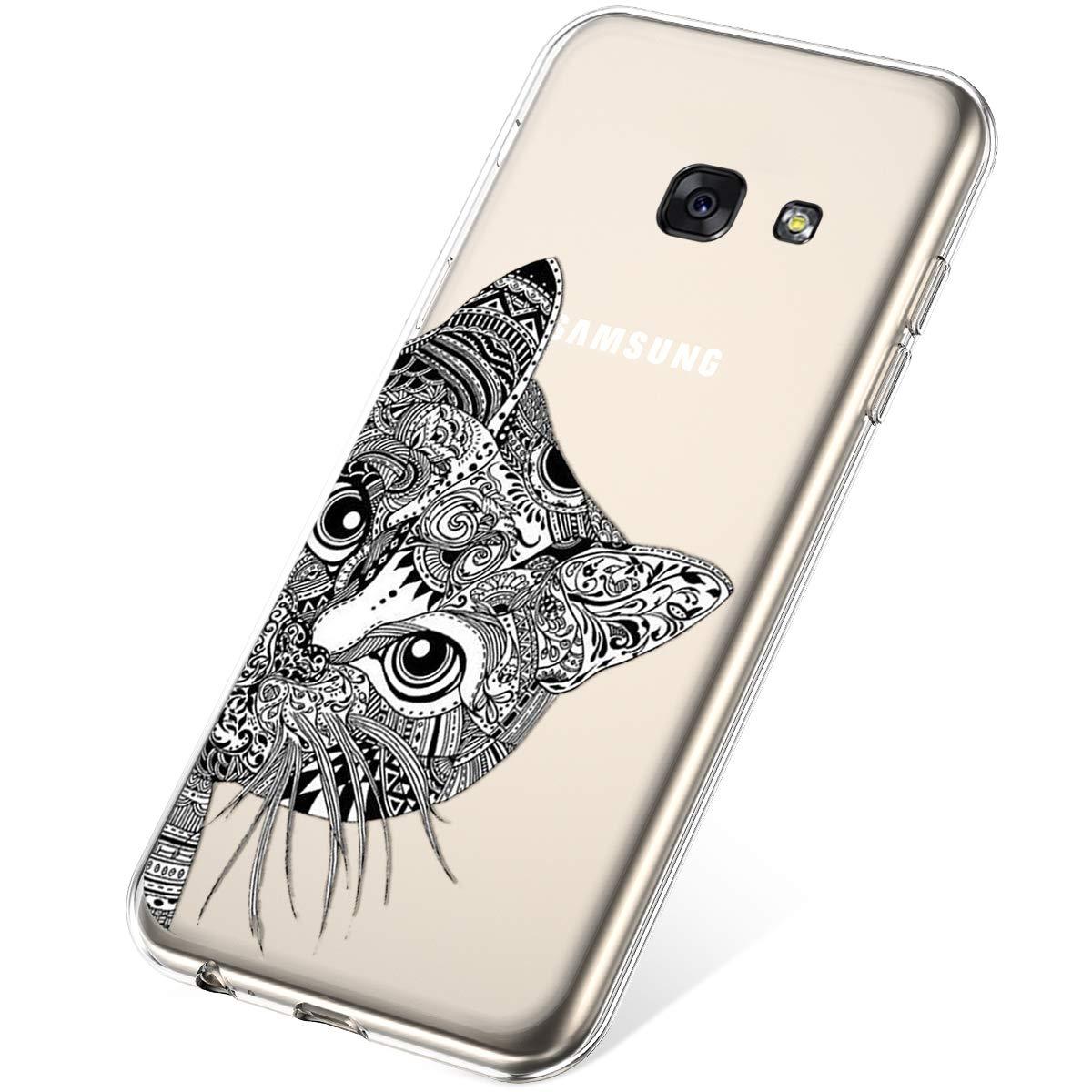 Felfy Etui Compatible avec Samsung Galaxy A3 2017,Coque Galaxy A3 2017 Transparente Silicone Housse de Protection Ultra Mince en Caoutchouc Souple Coquille Anti Choc T/él/éphone Bumper Case,Fleur