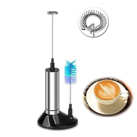 Vingtank Espumador de leche eléctrico de mano - Batidor de acero inoxidable con cepillo y soporte