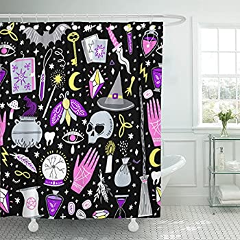 Emvency Shower Curtain Black Alchemy Magic Witch Witchcraft Bohemian Drawing Waterproof Polyester Fabric 72 x 72 inches Set with Hooks