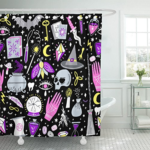 (Emvency Shower Curtain Black Alchemy Magic Witch Witchcraft Bohemian Drawing Waterproof Polyester Fabric 72 x 72 inches Set with Hooks)