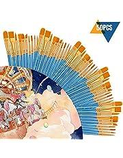 50 Set Completo de Pinceles CookJoy Pinceles Acuarela, Oleo, Acrílico, Pintura Corporal y más - Calidad Profesional y Pinceles Duraderos para artistas profesionales, estudiantes, aficionados, novatos
