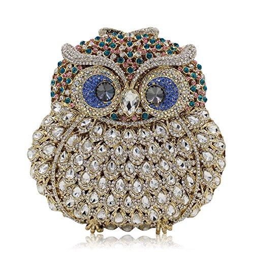 Women Rhinestone for Clutch Owl Party Bag Prom Multicolor Purse Shoulder 2 Evening Wedding Crossbody Handbag Bag zvxwFz4r