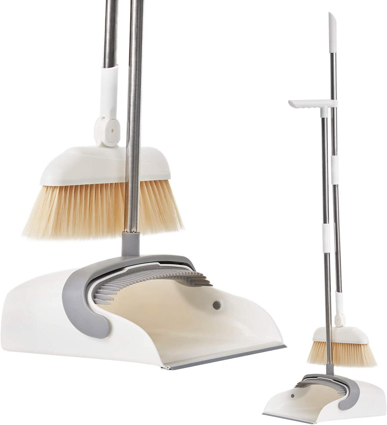 Magnetic Broom and Dustpan Set Standing with Adjustable Long Handle and Rotating Head for Home Kitchen Lobby Office Floor Cleaning: Kitchen & Dining