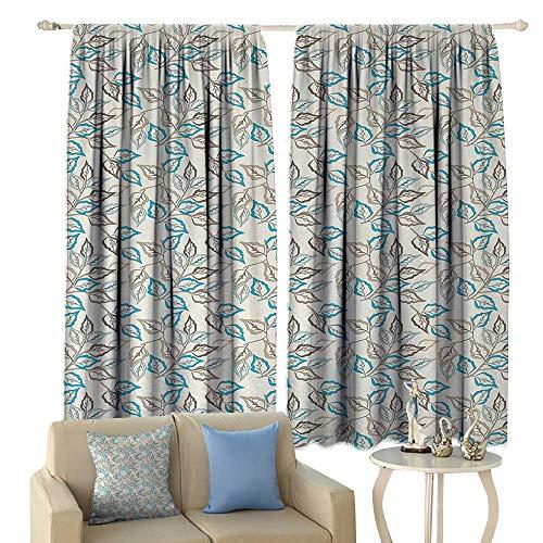 ckout Window Curtain, Botanic Foliage Leaves Pattern Garden Theme Nostalgic Autumn Motifs, Customized Curtains,(W55 x L39 Inch, Warm Taupe Pale Blue Cocoa ()
