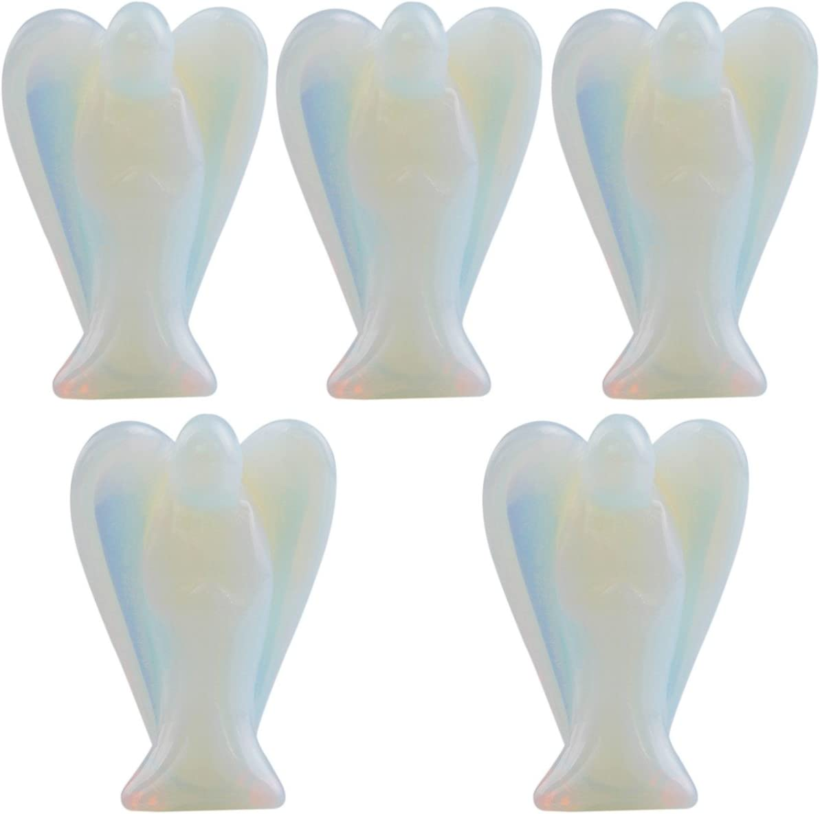 mookaitedecor Guardian Angel Figurines Set of 5,Crystals Gemstone Carved Mini Statue for Love,Peace & Healing 1.5 inch