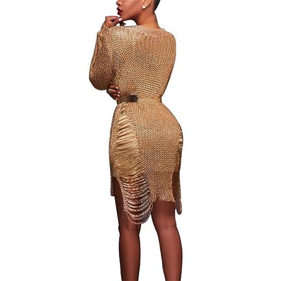 Amazon.com: LLNONG – Falda de lana hueca sexy para mujer ...