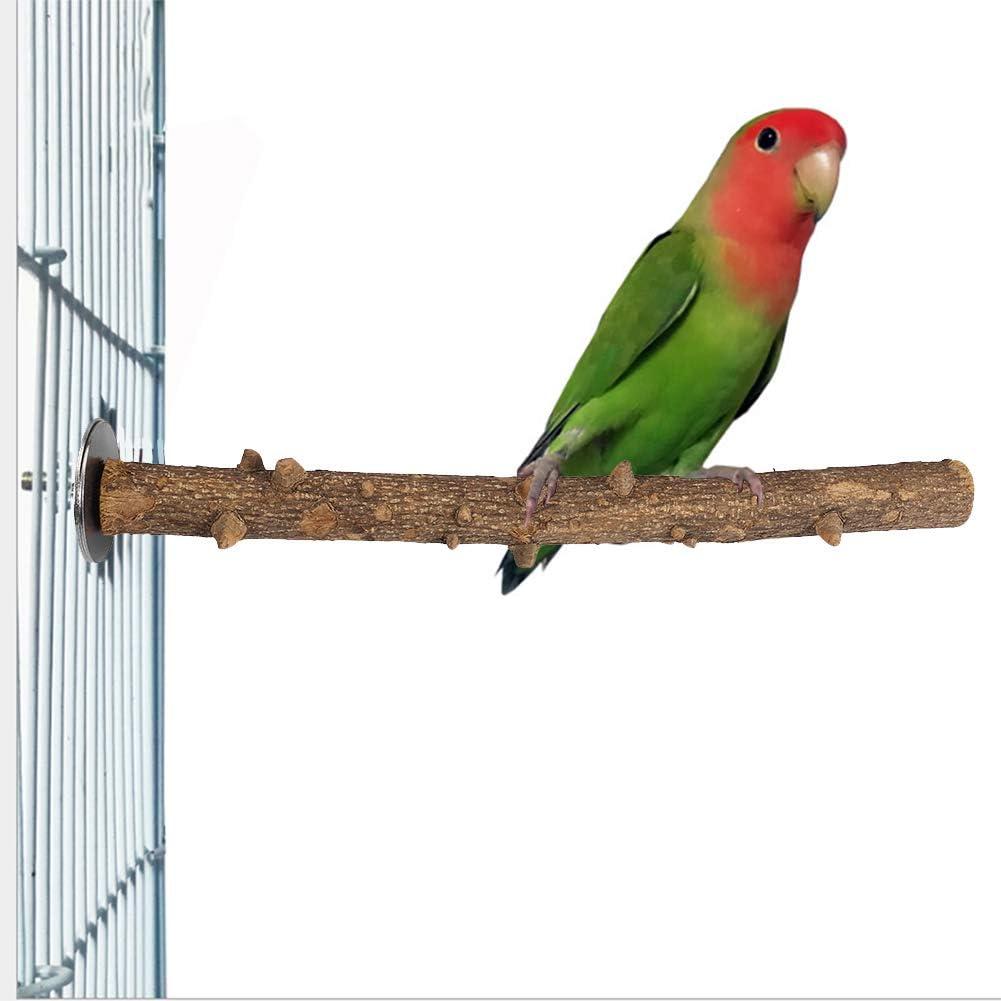 Soporte de Madera para pájaros y Loros Fresca Espinosa Madera Perca Soporte Pájaro Madera Chew Masticar Juguete Pájaro Pata Moler Percha Jaula Colgando Juguete de Entrenamiento(1.5~2.5×25cm)
