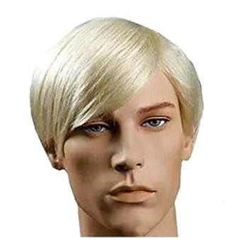 New Handsome Short Straight Men Wig Golden