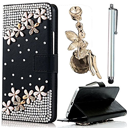 J7 2016 Case,Vandot 3in1 Accessories Set Flip Folio Cover Wallet Stand Book Style for Samsung Galaxy J7 2016 + Diamond Shining Drop Flower + Pink Prot…