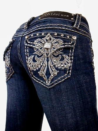 2ef4d7016b1 LA Idol Women Plus Size Skinny Jeans Emma Taupe Stitch Fleur De Lis Flap  Pocket Bold
