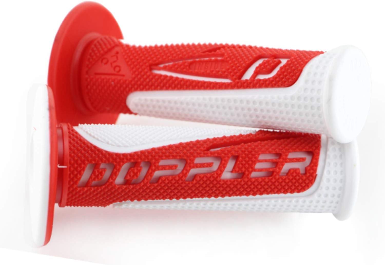 rouge//blanc Poign/ées de guidon de moto Doppler Radical Grip 22//24-25 mm