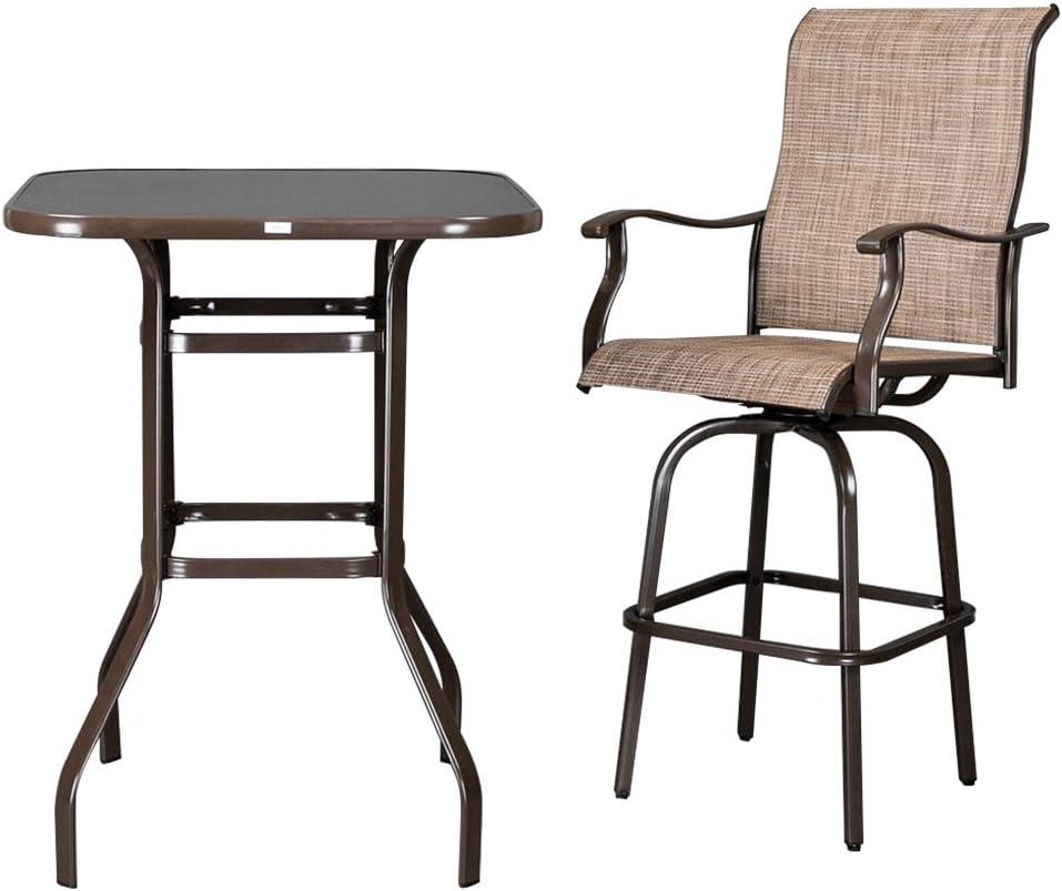 2pcs Premium Wrought Iron Swivel Bar Chair Patio Swivel Bar Stools Brown