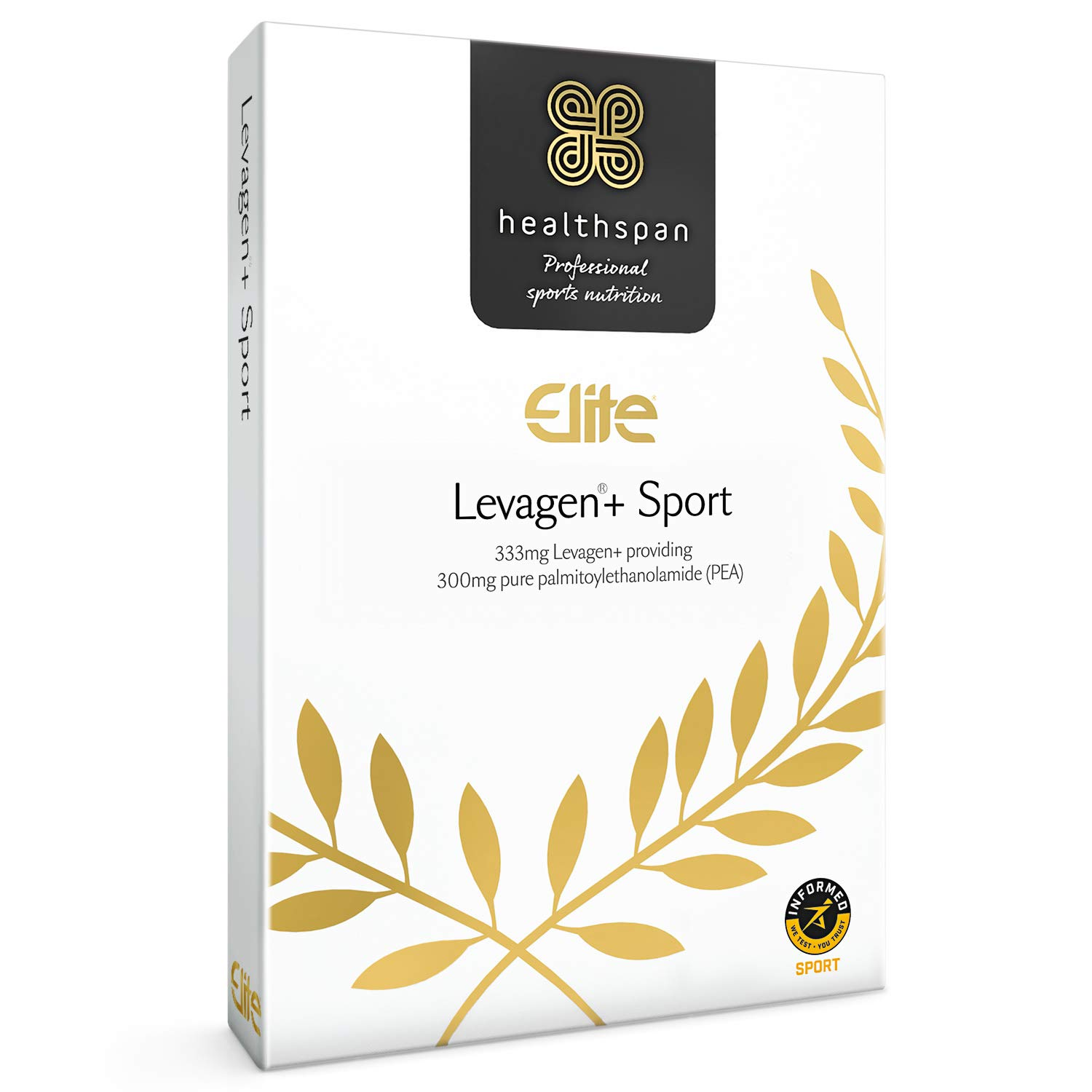 Levagen+ Sport | Healthspan Elite | 60 Capsules | All Blacks Official Partner | Informed Sport Accredited | 300mg Pure Palmitoylethanolamide (Pea) | Batch Tested | Vegan