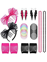 Aniann 80s Women's Costume Outfit Accessories Set Neon Earring Fishnet Gloves Lace Headband Necklace Bracket for 80s Party, 2 Set, Black and Rose Red