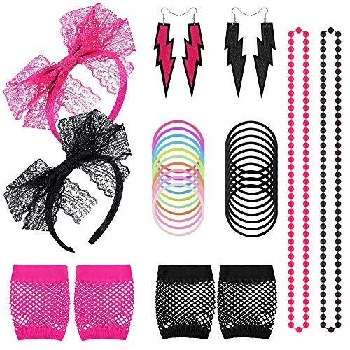 80s Women's Costume Outfit Accessories Set Neon Earring Fishnet Gloves Lace Headband Necklace Bracket for 80s Party, 2 Set, Black and Rose ()
