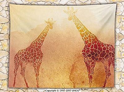 Safari Decor Fleece Throw Blanket Illustration of Tropic African Giraffes Tallest Neck Animal Mammal in Retro Vintage Print Throw Orange
