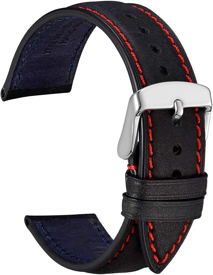 WOCCI Correas de Reloj de Cuero Nobuck con Hebilla de Acero Inoxidable, Bandas de Repuesto 14mm 18mm 20mm 22mm
