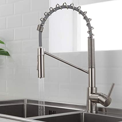 Morotel Contemporary Kitchen Sink Faucet Single Handle Stainless Steel  Kitchen Faucets Swivel Two Head Kitchen Sink Faucet Brushed Nickel