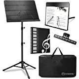 Kasonic 2 in 1 Dual-Use Folding Sheet Music Stand & Desktop Book Stand with Portable Carrying Bag, Sheet Music Folder & Clip