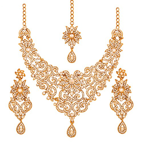 Touchstone Indian Bollywood traditional royal look attractive filigree carving white Rhinestone grand bridal designer jewelry necklace set for women in antique gold (Traditional Indian Gold Jewelry)