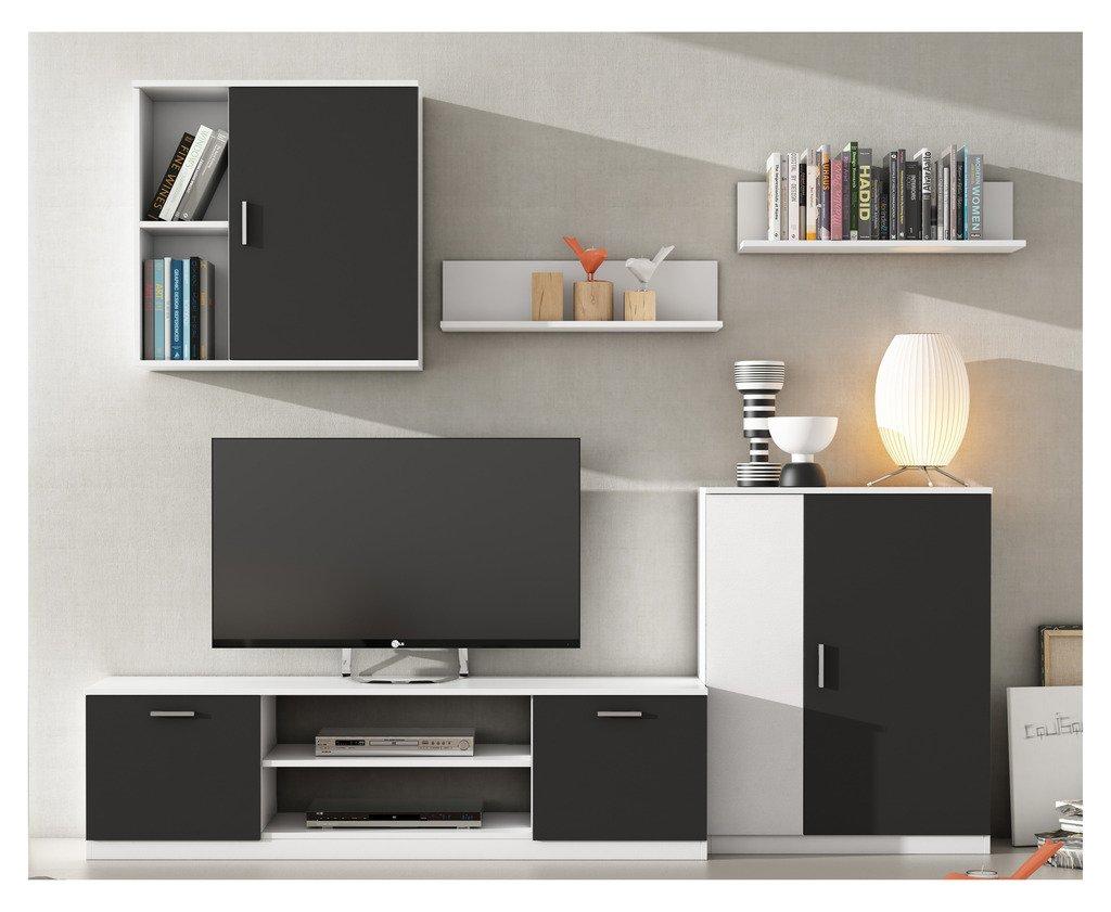 mueble de saln moderno modular lacado blanco y negro amazones hogar