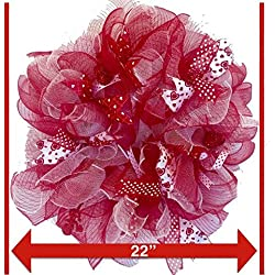 "Valentines Day Deco Mesh Door Wreath 22"" Red White & Pink (Pink, Red & White)"