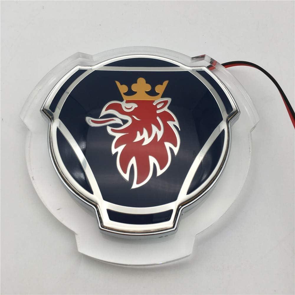Amarillo 1 piezas para Scania Griffin Badge 80mm ABS Truck logo Insignia de la parrilla delantera delantera con emblema de iluminaci/ón LED blanca