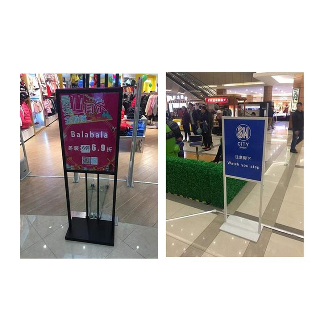 JNYZQ Vertical Display Stand Shopping mall Double-Sided Indication Billboard Floor Poster Shelf Replaceable Advertising Rack Sign Bracket Color : White