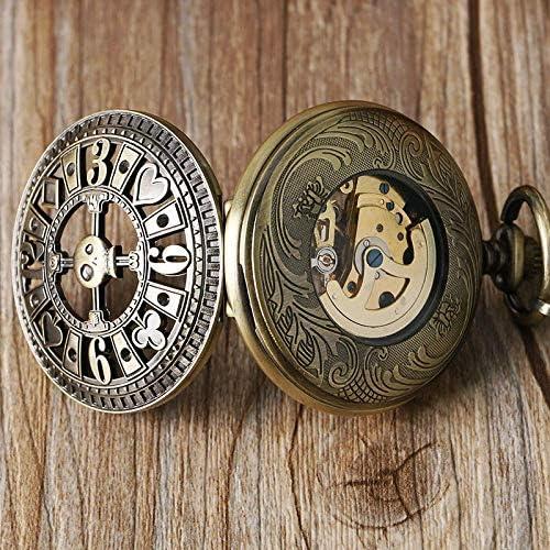 YXZQ懐中時計、フォブ自動機械式ポーカー中空ペンダントスカルブロンズポケットウォッチチェーンメンズレディーススケルトンウォッチ