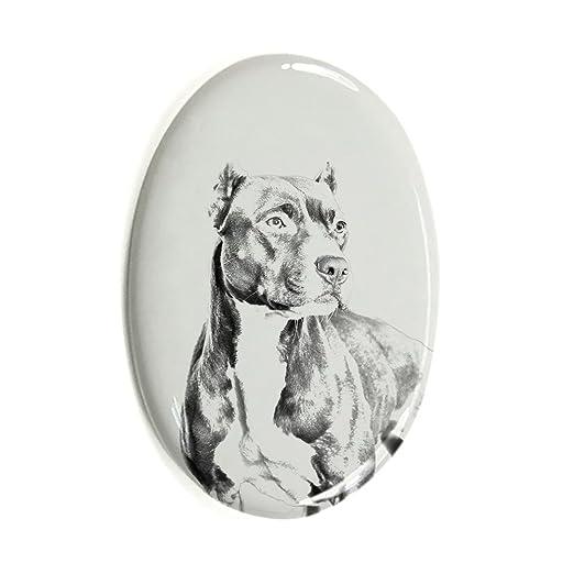 Pitbull Oval Grabstein aus Keramikfliesen mit Einem Bild eines Hundes ArtDog Ltd