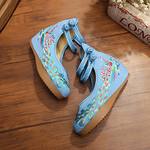 JTENGYAO Womens Chinese Ankle Strap Embroidered Casual Sport Shoes Light Blue QoMgxk4eMH