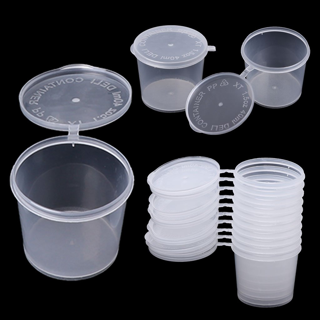 Tebatu Plastic Disposable Sauce Cup Clear Salad Dressing Food Storage Containers + Lids by Tebatu (Image #7)