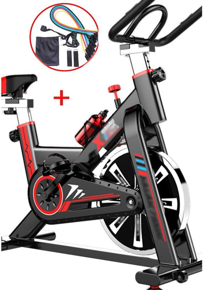 Bicicleta estática YI'HUI para interior, bicicleta estática, con correa y volante de inercia, manillar ajustable, pantalla digital, sensores de frecuencia cardíaca, soporte para teléfono y botella