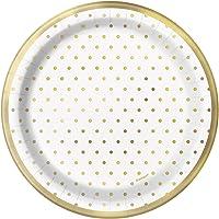 Unique Party- Platos de papel, Color dorado (72574)