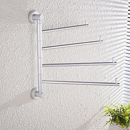 Estante para toallas actividad giratoria de 180 grados barra de colgar de aluminio de espacio de