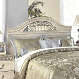 Ashley Furniture Signature Design - Catalina Panel Headboard - Queen/Full - Faux Marble Accents - Traditional - Antique White