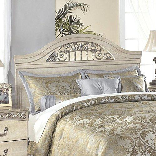 Ashley Furniture Signature Design - Catalina Panel Headboard - Queen/Full - Component Piece - Faux Marble Accents - Traditional - Antique White (Bed Frame Mirror Headboard With)
