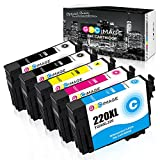 GPC Image 5 Pack Remanufactured Ink Cartridge Replacement for Epson 220XL 220 XL T220XL for Epson Expression XP-320 XP-420 WorkForce WF-2760 WF-2750 WF-2650 WF-2630 (2 Black 1 Cyan 1 Magenta 1 Yellow)