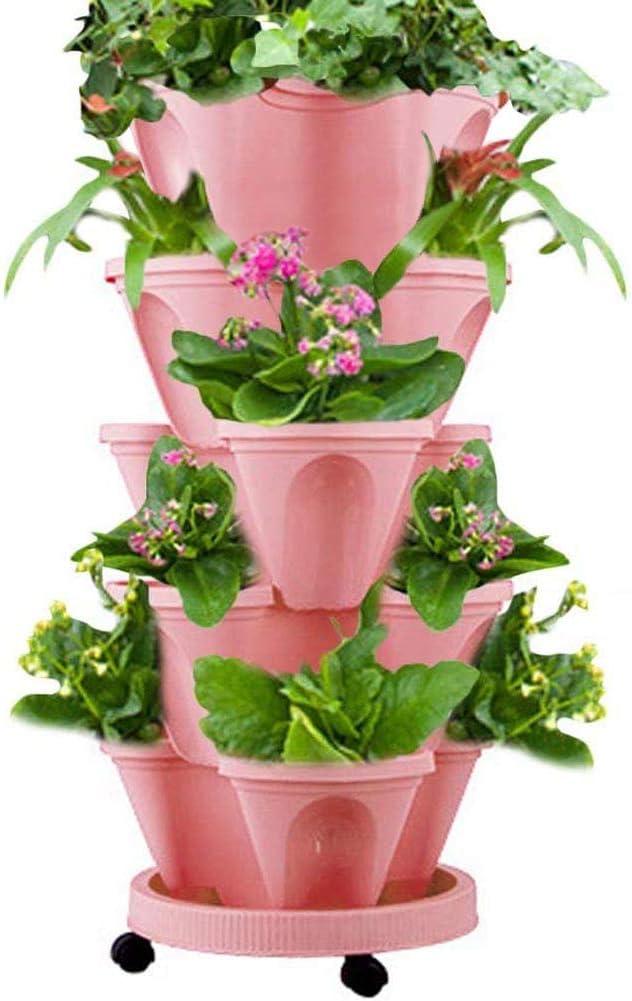5-Tier Stackable Flower Pot Tower with Moving Tray,Vertical Gardening Indoor/Outdoor Stacking Garden Pots (Pink)