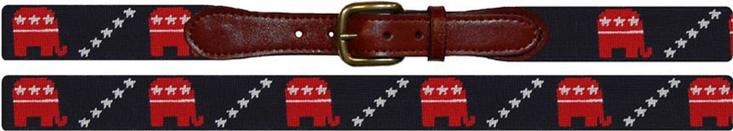 Republican Elephant Needlepoint Belt (36, Navy with Red Elephants)