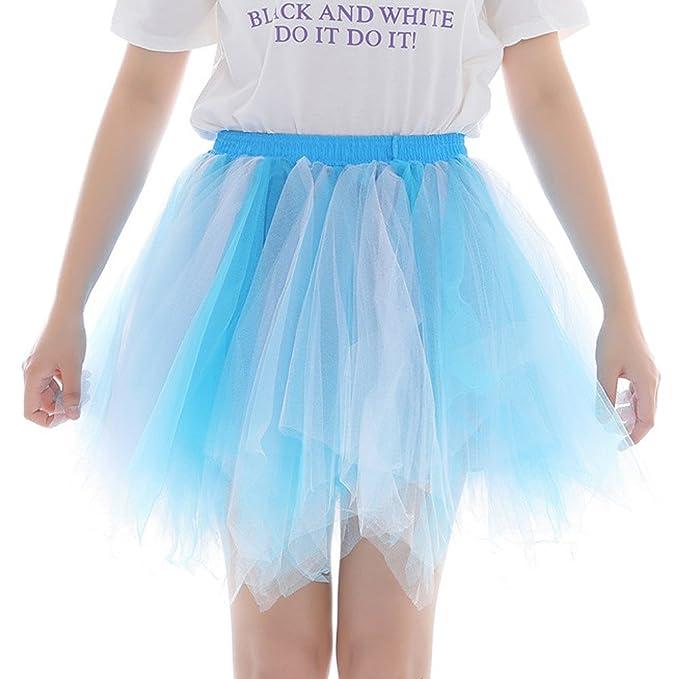 HEETEY - Falda - para Mujer Azul Celeste Talla única: Amazon.es ...