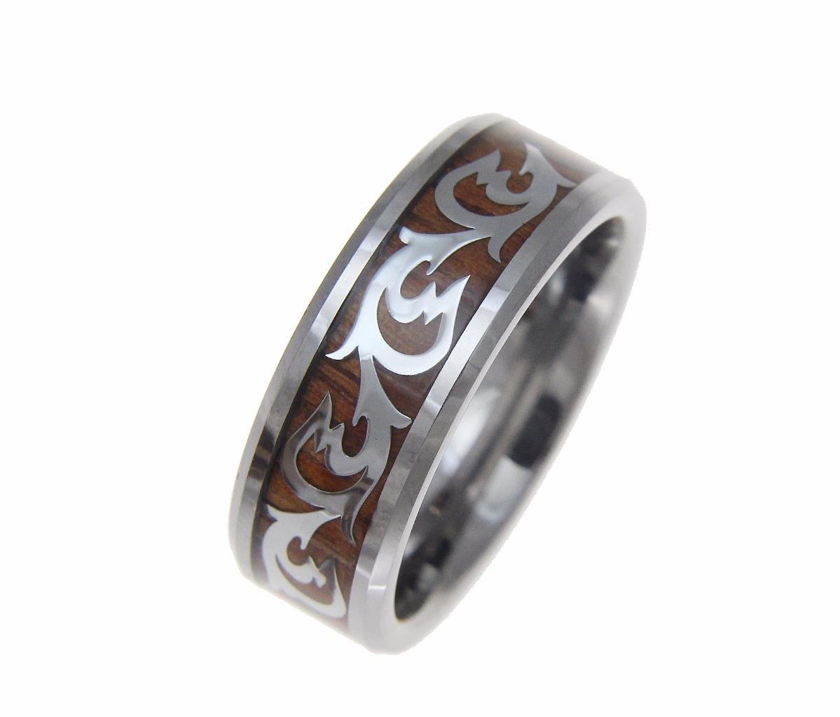 Genuine inlay Hawaiian koa wood shiny scroll band ring tungsten comfort fit 8mm size 10