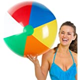 Sol Coastal Jumbo Classic Rainbow Inflatable 6-Color Beach Ball