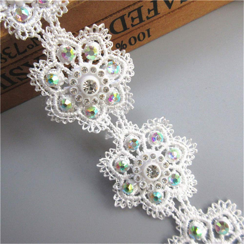 15pcs Flower Cotton Floral Guipure Lace Ribbon Edge Trim with Pearl Beads Mini Colored Bud 5.5cm/ 2.2 inch Width White Edging Trimmings Fabric Embroidered Applique Sewing Craft Wedding Qiuda