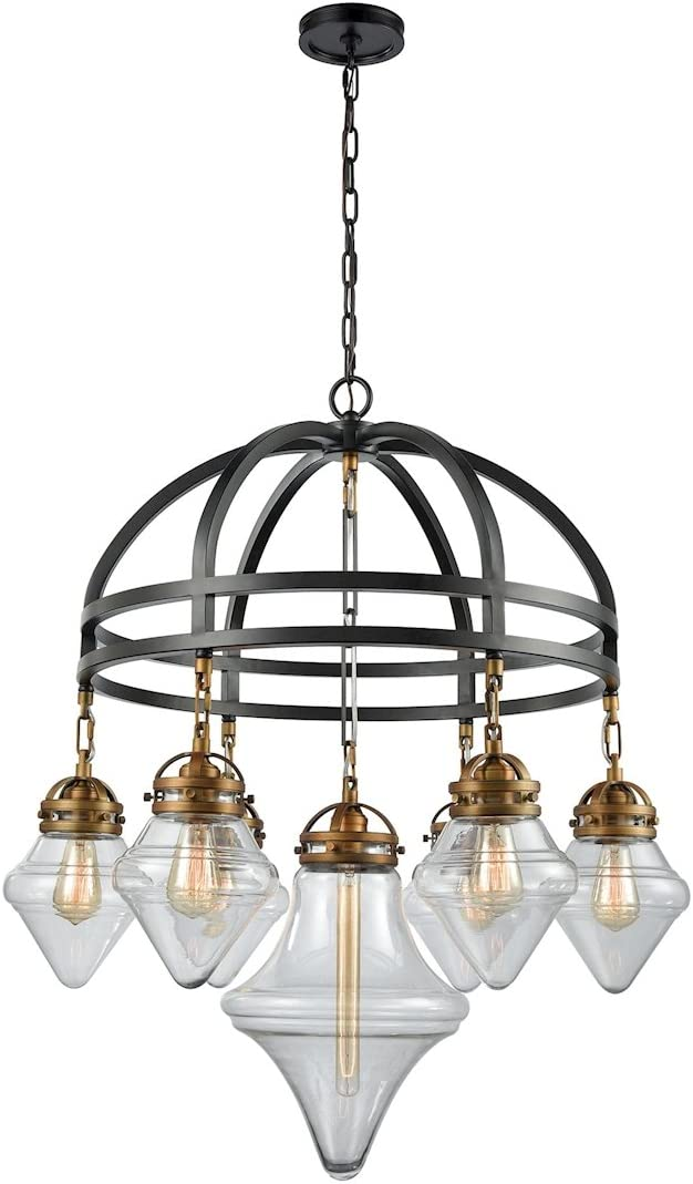 Elk Lighting 16461 7 Gramercy 7 Light Highlights and Clear Glass Chandelier, Classic Brass, Oil Rubbed Bronze