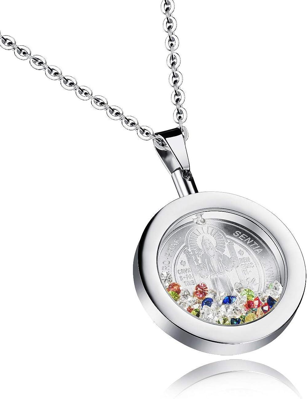 BJINUIY Joyería Religiosa, decoración de Botellas de Diamantes de Colores, Colgante de Cristal Corto, Color Acero